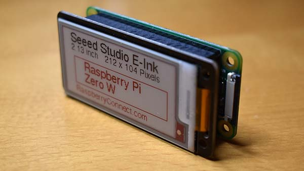 Seeed Studio e ink 3 colour display Raspberry pi zero side